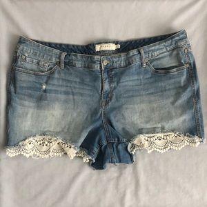 Torrid Jean Lace Shorts